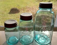 Set three Ball Perfect Mason jars Pint Quart Half Gallon Ball Blue Vintage Lids