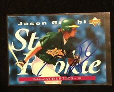 JASON GIAMBI 1995 UPPER DECK AUTOGRAPHED SIGNED AUTO BASEBALL CARD 222 A'S