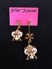 BETSEY JOHNSON Ice Princess White Mice HI-LO Dangle Earrings NWT RARE WOW!
