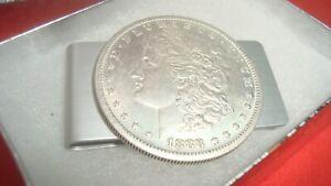 1888 Morgan Dollar Coin Token Not Silver Souvenir Aluminum Money Clip, Gift Box