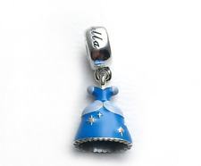 Authentic Pandora Sliver Bead Disney Cinderella Dress Dangle Charm 791578Enmx