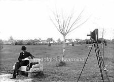 Old Photo. Oregon State University. Man on Bench - Camera