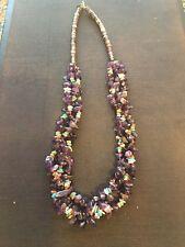 """Native American Necklace Purple Nugget Multi Stone 18"""""""