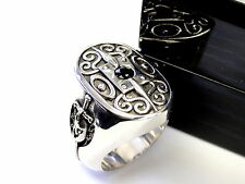 Men's Silver The Knight Of Honor Shield Ring With Black Diamond by Sacred Angels