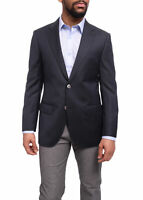 Mens 36S Napoli Classic Fit Navy Blue Basket Weave Half Canvassed Reda Wool B...