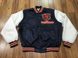 MENS LARGE - Vtg 90s Chicago Bears Chalk Lined Fanimation Lined Snap Jacket USA