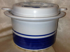LAPID ISRAEL  ARABESQUE BLUE BANDS SWIRLS 1.75 QT LUGGED LIDDED CASSEROLE BOWL