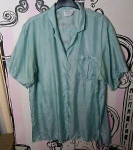 Size 18 Green Semi Sheer 100% SILK Short Sleeve Shirt Pocket Blouse