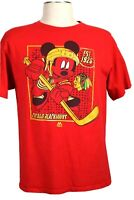 Mickey Mouse NHL Chicago Blackhawks Hockey Men's XL Red T-Shirt, Small issue