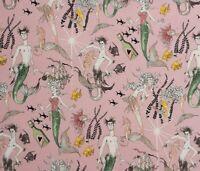 """Alexander Henry Fabrics The Ghastlie Lake Ghantis Ghastlies Mermaids Pink 18X44"""""""
