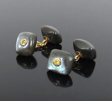 Estate Trianon Yellow Sapphire & Labradorite 18K Gold Cushion Shape Cufflinks
