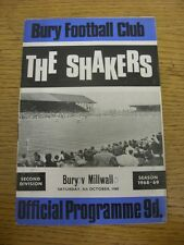 05/10/1968 Bury v Millwall  (Creased, Score Noted On Cover & Inside). Thanks for