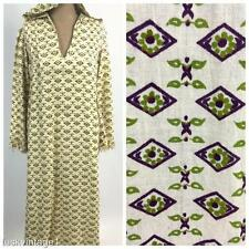 VINTAGE INDIAN cream COTTON flowers DIAMOND hood BLOCK PRINT maxi dress 10 12