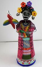 Day of the Dead FRIDA KAHLO CATRINA clay pottery Mexico signed Saul Montesinos A