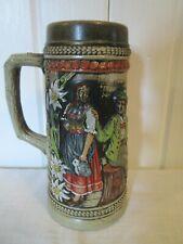 Vintage German Gerz Stoneware Beer Stein Mug A Cool Drink Gives A Good Feeling