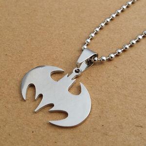 Stainless Steel Batman Necklace superhero logo symbol unisex rope chain pendant