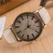 Men Women Quartz Fashion Casual Cloth Cowboy Watch Wrist Band Canvas Strap