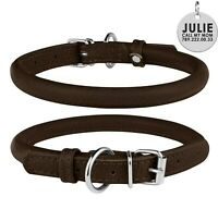Rolled Leather Dog Collar S Rope Round Collars For Dogs Soft Padded Heavy Duty