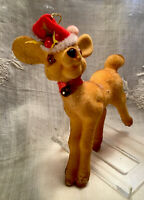 "Vintage 1960's Flocked 5"" Christmas Reindeer-Eye Buttons-Santa Hat w/Bell-Japan"