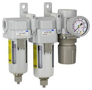 "PneumaticPlus Compressed Air Filters 10 + 0.1μm Regulator 3/8"" NPT SAU330-N03G R"