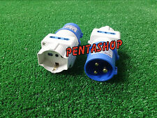 Adattatore industriale cee da spina 16A blu a 2 prese 2P+T + schuko 220V