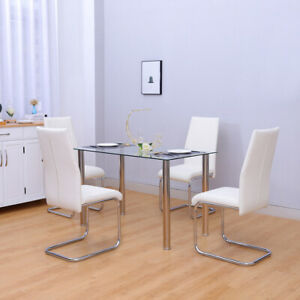 Glass Dining Table and 2/4 Chairs Set High Back Padded Seat Kitchen Living Room