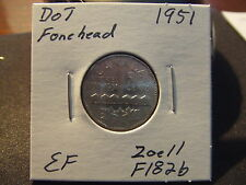 CANADA FIVE CENTS 1951 DOT ON FOREHEAD! Nice Circulated!!!!