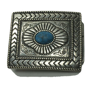 Faux Turquoise Southwest Belt Buckle Silver Plated