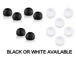 SILICONE EARPHONE TIPS EARBUDS WHITE & BLACK SENNHEISER SONY SKULL BEATS SAMSUNG