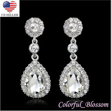 Tier Drop Clear Austrian Rhinestone Crystal Dangle Earrings Bridal Prom Wed E14