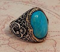 925 Libra esterlina Plata Anillo Turquesa Piedra preciosa Hecho a mano Turquía