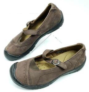Keen Womens 7 Slip-On Adjustable Strap Mary Jane Walking Shoe Brown Leather EUC