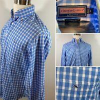 Vineyard Vines Men's Button Down Tucker Shirt Whale Blue Gingham Size Small