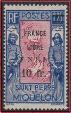 1942 SAINT PIERRE ET MIQUELON N°289* France Libre FNFL, SPM MH