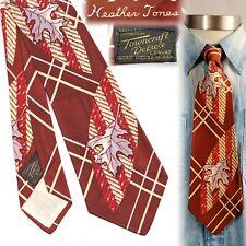 1940s Towncraft Heather Tones Autumn Leaves Vintage Necktie Art Deco Swing Tie