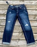 "Silver Boyfriend Slim Leg Mid Rise Jeans Denim 12 x 29 NWT New Blue 11"" Rise"