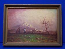 Hector Gustavo Moncayo Original Oil Painting Ecuador Shepard Sheep Landscape Mts
