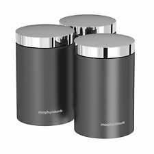 Morphy Richards 974067 Set of 3 Kitchen Storage Canisters - Titanium - Brand New