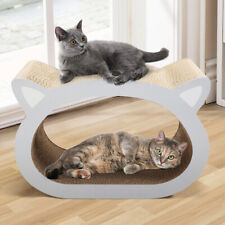 Stylish 2-In-1 Cat-Head Scratching Board Lounge Bed Pad Cat Scratcher Natural