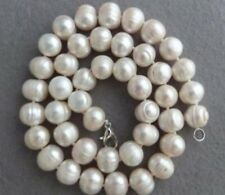 "Natural 8-9MM huge (thread) White South Sea Pearl Necklace 18""AA"