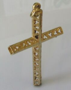 9ct Gold Pendant - Vintage 9ct Yellow Gold Hollow Tubular 3D Cross Pendant