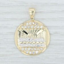 Gold Cubic Zirconias Religious Jewelry The Last Supper Pendant 10k Yellow