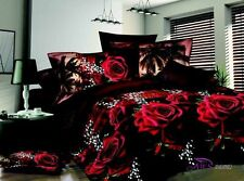 Love 3D Red Rose Bedding Set 4 Pcs Cotton Queen Size Duvet Cover Sets New