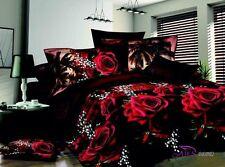 Love 3D Red Rose Bedding Set 4 Pcs Cotton Queen Size Duvet Cover Sets New
