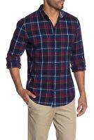 WALLIN & BROS Plaid Print Flannel Slim Fit Shirt Men's XL Navy Blue WB418519MN
