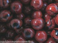 MARBLES 2 POUNDS OF 1 INCH LADYBUG RED & BLACK SWIRLS MEGA MARBLES FREE SHIPPING