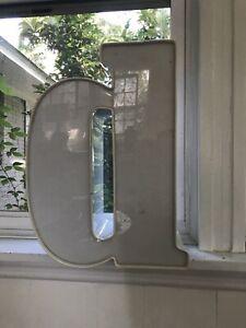 "15 1/2"" Vintage Metal Industrial Sign Letter ""d"" 3D Raised White Lower Case D"