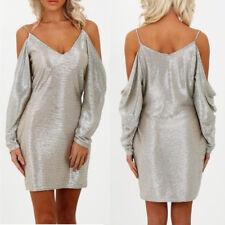 Ladies Off Shoulder Bardot Metallic Gold Dress Crushed Foil Party Evening Dress