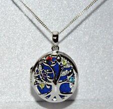 "Sterling Silver (925) Filigree Multi Gem ""Tree of Life"" Locket Pendant & Chain"