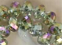 70  PCS , 6X8 mm Green Multicolor AB Faceted Crystal Gemstone Abacus Loose Beads